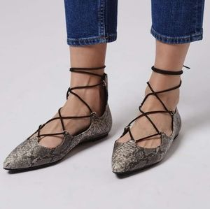 TopShop Lace-Up Snakeskin Flats